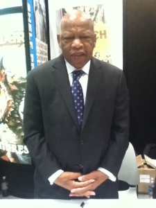 "This is congressman John Lewis, a really, really, really, REALLY amazing guy who was one of the most avid and foremost supporters of the Civil Rights Movement, during which he sustained more than 40 attacks, injuries, and arrests. He was there signing a sample booklet featuring an upcoming graphic novel called ""March: Book One,""an account of his experiences with the Movement, which I am very much looking forward to reading."